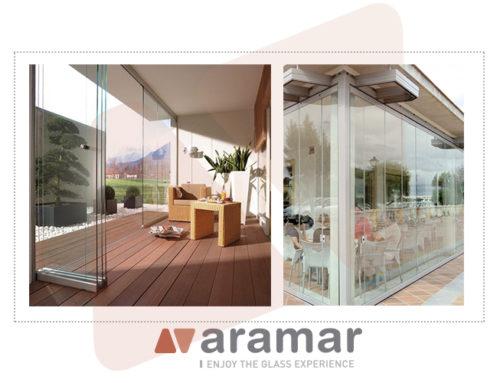 Cerramientos de terrazas con vidrio, disponibles en Aramar.