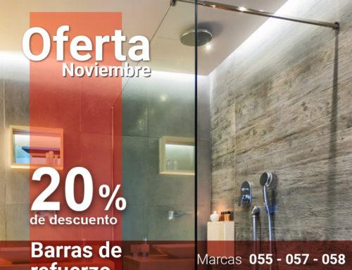 Oferta Noviembre 20% en Barras de Refuerzo para Mamparas de Vidrio